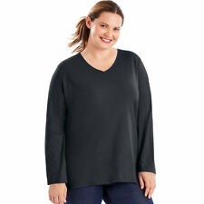 77f3f753 Just My Size Women's Long Sleeve 100 Cotton Comfort Tee Style V Neck. OJ043  Ebony