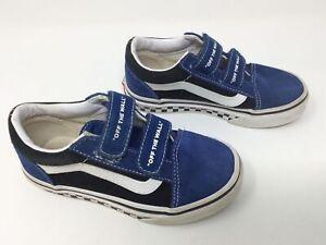 Vans Old Skool V Shoes Sued Canvas Navy True White 11 US Kids Youth Blue Black