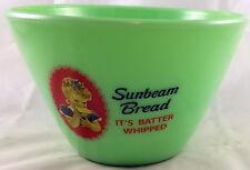JADITE GREEN GLASS SPLASHPROOF MIXING BOWL ADVERTISING BATTER WHIP SUNBEAM BREAD