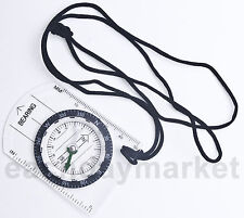 MM Inch Ruler Baseplate Compass with Neck Strap f/ Hiking Camping Navigation Map