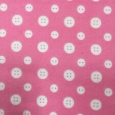 """Fabric Henry Glass & Co 2 Yards X 43"""" Buttons Pink White Cotton Flannel #3T13"""