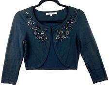 Review Women's Size 8 Black 3/4 Sleeve Knit Cardigan Bolero