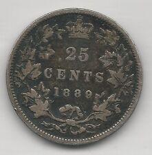 CANADA, 1889, 25 CENTS, SILVER, KM#5, FINE-VERY FINE *RARE DATE-MINTAGE 66,000*
