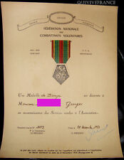 DIPLOME MEDAILLE DE BRONZE FEDERATION NATIONALE DES COMBATTANTS VOLONTAIRES