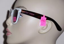 Betsey Johnson Classic White with Tortoise Arms 100% UV Plastic Sunglasses