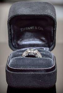 Tiffany & Co 18K White Gold Basket Weave 0.50ct Diamond Cocktail Ring Band Sz4.5