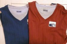 Men's Layered Look Long Sleeve Casual Shirts Large 2 Pairs Blue Rust Ribbed