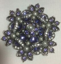 New Joan Rivers Large Purple and Clear Crystal and Faux Pearl Pin Brooch Rare