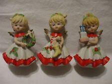 "Homco Vintage 5402 Christmas Porcelain 4 1/2"" Angel Figurines Set of 3"