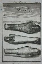 Original antique print ANCIENT EGYPT, MUMMIES, SARCOPHAGUS, Mallet, c.1719