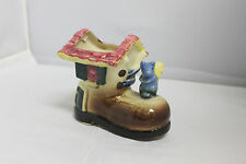 Antique Vintage Ceramic Planter Shoe Boot house with squirrel Occupied Japan