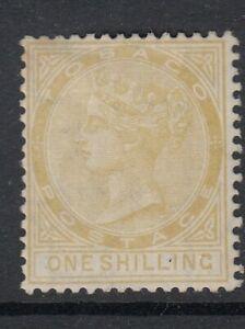 Tobago SG12 1/- yellow-ochre wmk Crown CC Mint no gum
