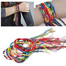 10x Women Lucky Braid Thread Wristband Ethnic Hippie Cords Handmade Bracelets