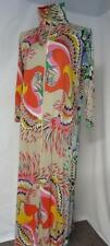 60s Vtg Mod Hawaiian Exotic Bird Theme Lounge Zipper Gown Nylon Lorraine Medium