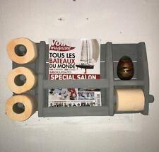DEROULEUR PAPIER TOILETTE WC bois de palette avec réserve finition badigeon gris