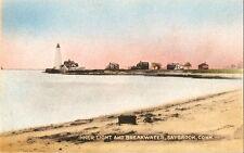 Postcard CT Connecticut Inner Light & Breakwater Saybrook Linen MINT 1930s-40s