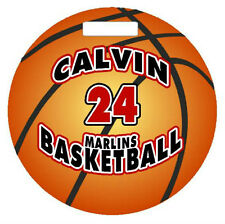 "Personalized BASKETBALL BAGTAG LUGGAGE TAG 4"" Round Sports Duffle Bags Backpacks"