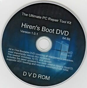 Hiren's Boot Disc For Any Computer Recover Fix & Repair Windows 7 8 &10 CD/DVD