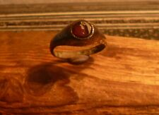 GORGEOUS LATE MEDIEVAL BRONZE STIRRUP RING WITH RED GARNET-METAL DETECTING FIND