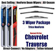 3Pk Wipers Front & Rear NeoForm fit 2012-2017 Chevrolet Traverse 162413/2113/13N