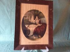 "Vintage Framed Currier and Ives Colored Lithograph "" The First Care"""