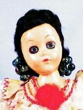 Vintage Brazil Doll Hard Plastic Brazilian Black Hair Earrings Dress Retro 1950s