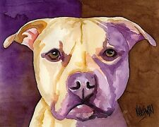 Pit Bull Art Print Signed by Artist Ron Krajewski Painting 8x10