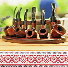 For Sale Set of 7 Tobacco Pipes Pear Wood + Stand Holder Ash Wood Handmade NEW