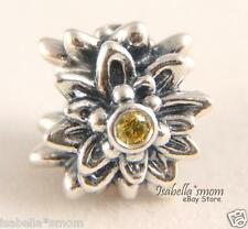 Limited EDELWEISS Authentic PANDORA Silver/YELLOW CZ Stone FLOWER Charm/Bead NEW