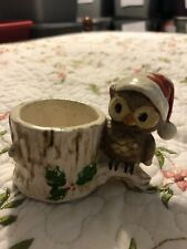 Josef Originals Christmas Owl with Santa hat Votive Toothpick Match Holder
