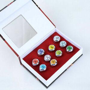 Cartoon Naruto Rings 10pcs/set Membermetal Rings Cosplay Costume Collection