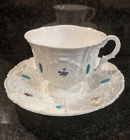 Meissen Baroque Jeweled Cup and Saucer
