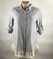 New Umgee Womens Tunic Top Size XL Blue Striped Lace Hem Tab Sleeve Buttons H&L
