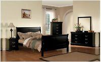 Antique Brass Hardware 4pc Bedroom Set Queen Size Bed Dresser Mirror Nightstand