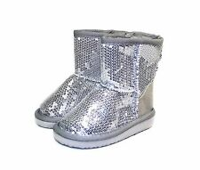 ALING-7KA New Bady Kids Toddlers Slip-On Boot Party Unisex Dree Shoes Silver 5