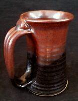 Vintage studio pottery brown stoneware mug 4.5 inches