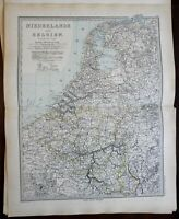 Netherlands Belgium Flanders Holland Brabant Utrecht 1891 Stieler detailed map