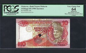 Malaysia 10 Ringgit ND(1989) P29s Specimen TDLR Uncirculated