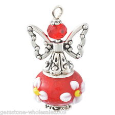 1PC Red Hand Made Guardian Angel Pendants Beads Wing Jewelry Supplies 50