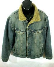Old Navy Mens Jeans Jacket Trucker Faux Sherpa Western Denim Blue Size XL