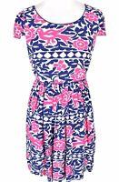 Anthropologie Maeve Dress Sz 4 Peralta Fit Flare Blue Pink Floral Bird Print