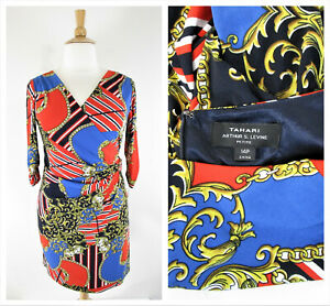 Tahari Plus Size Petite Navy Red Gold Chain Faux Wrap Dress Size 14P Formal NWT