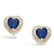 Dolly-Bijoux Bo Puce Rhodié Coeur Saphir et Diamant Cz Plaqué Or 18K