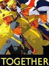 PROPAGANDA WAR 1940 COMMONWEALTH FORCES SOLDIERS GUN BRITISH UK POSTER CC4190