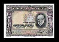 SPAIN 1935 50 PESETAS P-88A BANKNOTE ☆ GEM UNC ☆  ☆ RARE THIS NICE ☆
