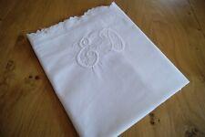 """ANTIQUE/VINTAGE WHITE COTTON PILLOWCASE Whitework Embroidered Monogram """"E D"""" P56"""
