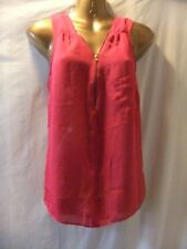 LADIES George 12 CERISE SHEER CHIFFON/VISIBLE ZIP/LONGER BACK/SLEEVELESS TOP
