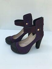 Authentic FENDI Purple Satin RUBBER Cap-toe PUMPS Shoes HEELS Size 36 1/2