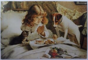 Girl Praying before Eating with Pets Dog and Cat Metal Sign