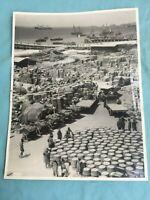 FOTO IN B/N ISTITUTO LUCE PORTO AFRICANO: SCARICO MERCI TRUPPE ITALIANE WW2